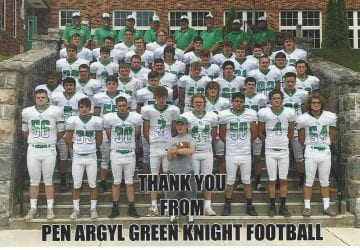 Pen Argyl Green Knight Football sends Thank you! 9/30/2019
